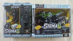 GI-Joe-Sigma-6-SNAKE-EYES-amp-NINJA-HOVERCYCLE-8-034-inch-figure-motorcycle-Hasbro