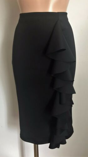 SMART BLACK CASUAL PENCIL TUBE WIGGLE FRILL FEATURE STRETCH SKIRT SIZE 10-20