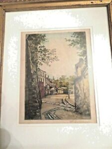 Antique-French-Etching-in-Colour-View-of-Paris-Montmartre-by-Henry-Tourneur