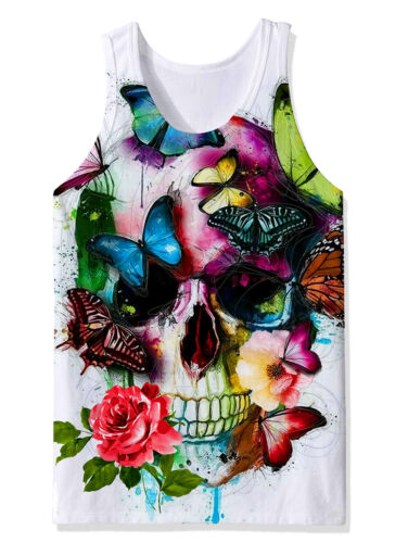 Mens 3D Print Tank Tops Sleeveless Sport Gym Shirt Casual Work Out Graphics Tees