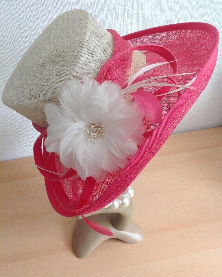 Gorgeous Jacques Vert Wedding Hat Ascot Races Hats HOT PINK / Ivory