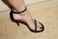 Stuart Weitzman Twinkle Black Satin Crystal Like Nudist Sandals Shoes 7.5 $550