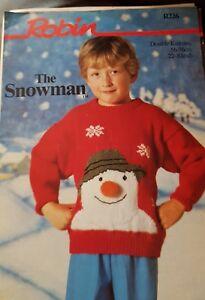 """Ravissement Utilisé Robin Knitting Pattern For The Snowman Pull Tailles 22"""" -30""""-afficher Le Titre D'origine"""