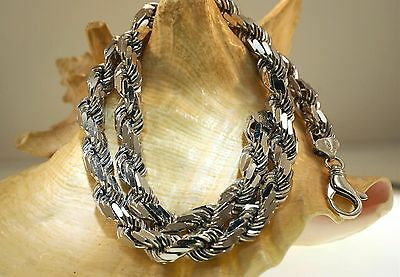 """1.5MM SOLID 925 STER SILVER DIAMOND-CUT DC ITALIAN ROPE CHAIN NECKLACE 14/"""" 3.6gr"""