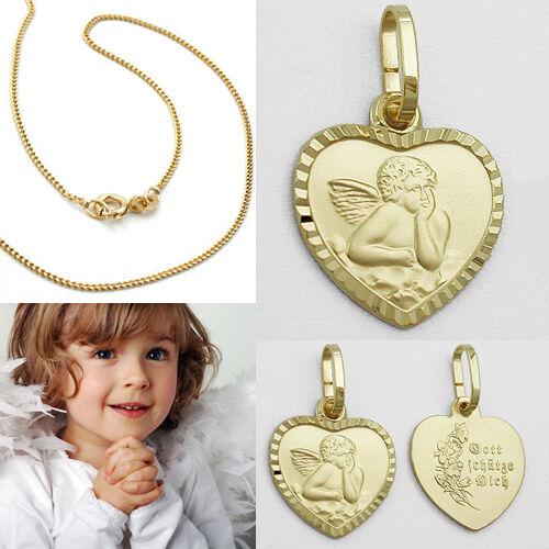 Kette Silber 925 verg Kinder Schutz Engel Herz Echt Gold 333 Gott schütze Dich