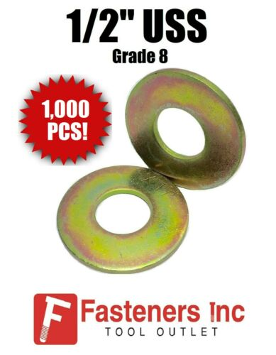 "Qty 1000 1//2/"" USS Flat Washers Thru-Hardened Grade 8 Yellow Zinc Bulk Box"