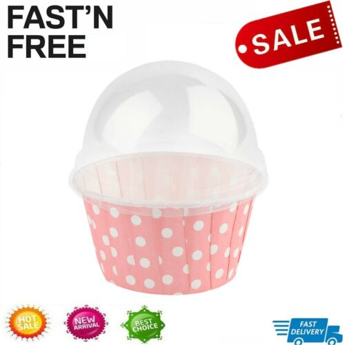 100PCS Mini Cupcake Liners Paper Round Cake Baking Cups Muffin Cases w// Lid DH