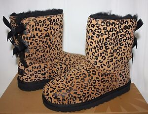 3ae59c5ad00 Details about Ugg Toddler Bailey Bow boots Leopard Chestnut suede NEW