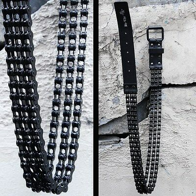 BytheR Men's Gothic Punk Leather Black Metal Chain Free Size Fashion Belt  AU
