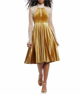 f9231379234 Image is loading Gianni-Bini-Blair-Pleated-Velvet-Saffron-Dress-with-