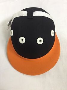Polo-Helmet-Traditional-Cotton-Twill-Fibreglass-Black-And-Orange-S-To-L