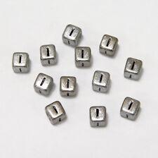 "6mm Silver Metallic Alphabet Beads Black Letter ""I"" 100pc"