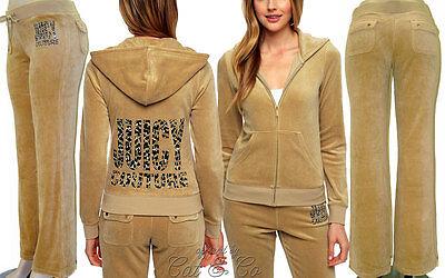 14d5cb0e11ac M Leopard Juicy Couture™ Velour Tracksuit Jacket Bootcut Pant Set Tan Ecru  NWT