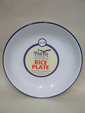 New White Falcon Enamel Round Pie Rice Plate Baking Dish Tin 22cm