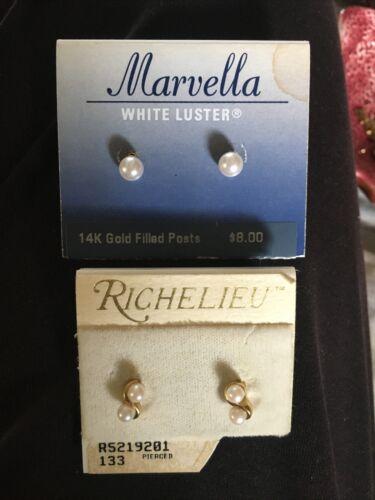 Vtg Lot 2 Pairs Marvella Richelieu Pearl post earr