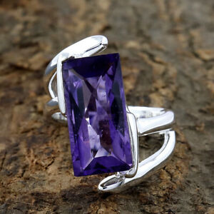 Natural-Purple-Amethyst-Ring-925-Sterling-Silver-Handmade-Ring-Size-6