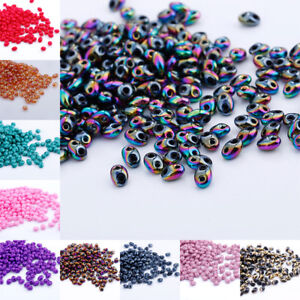 U-PICK-Color-DIY-240pcs-5x2-5mm-Czech-Glass-Seed-Beads-Two-Hole-Duo-Beads