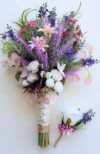 Rustic-Boho-Spring-Flower-Bridal-Bouquet-Lavender-amp-Pink-Spring-Wildflowers