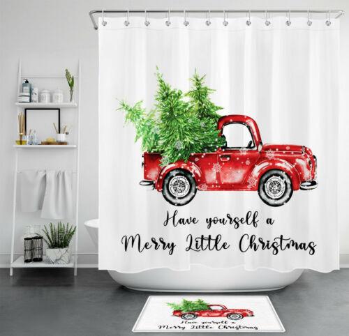 Merry Christmas Pine Cedar Red Truck Pickup Waterproof Fabric Shower Curtain Set