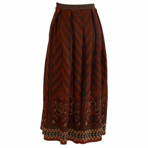 Bill Gibb 1970s Red Black and Gold Knit Midi Skirt