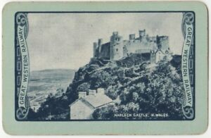 Playing-Cards-1-Swap-Card-Old-Vintage-GWR-GREAT-WESTERN-RAILWAY-Harlech-Castle-1