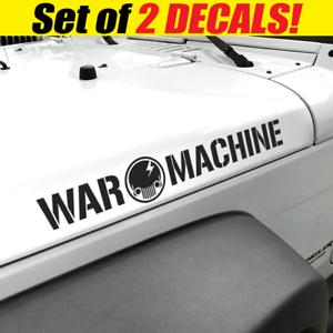 War Machine Jeep Skull Side Hood Vinyl Decals Fits
