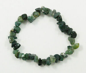 AGATE-GREEN-MOSS-STRETCH-BRACELET-Stone-Beads-Chips-Crystal-Healing-Reiki