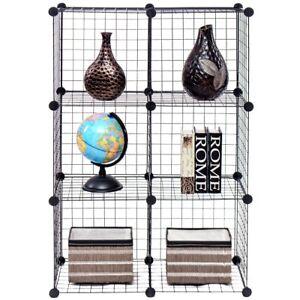 Details about DIY 6 Cube Wire Grid Cube Shelves Bookcase Storage Cabinet  Organizer Home Shelve