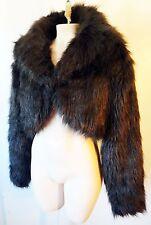FAUX FUR Bear brown long bolero short cut off shrug club disco XL sleeves crop
