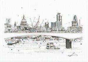 London-Art-A3-Print-of-Waterloo-Bridge-Hand-Sketched