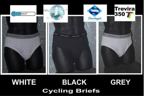 3 mens bike sport quality white cycling briefs large 34in L7 waist, new box