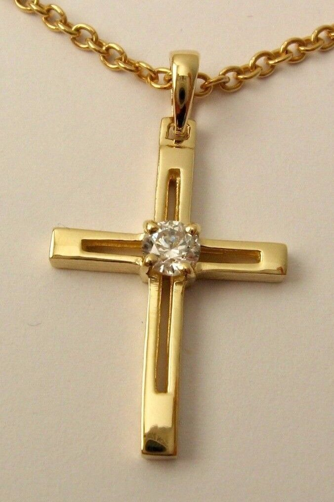 UNISEX GENUINE 9K 9ct SOLID Yellow gold CUBIC ZIRCONIA CROSS  Pendant