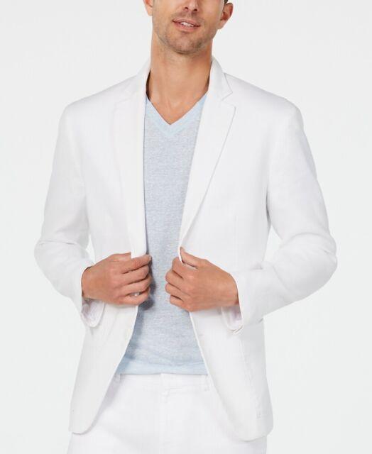 Alfani Mens Blazer White Size Large L Linen Two-Button Notched-Collar $139 #353
