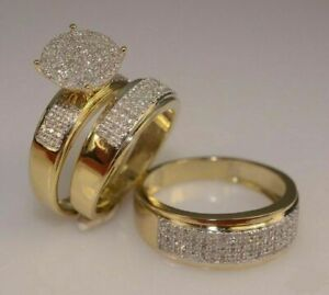 Diamond-14K-yellow-Gold-Fn-Trio-His-Her-Bridal-Wedding-Band-Engagement-Ring-Set