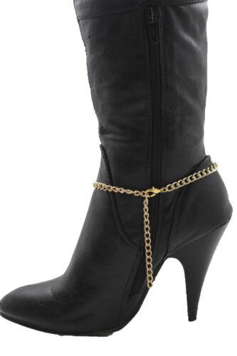 Damen Western Stiefel Armband Gold Metallkette Münze Schild Bling Söckchen