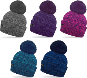 921dabf87d0fc Ladies Mens Marl Thermal Bobble Hat 3M Thinsulate Insulated Fully ...