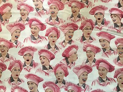 1 Yard VERY RARE I Love Lucy Chocolate Factory Cotton Fabric Lucille Ball Hat