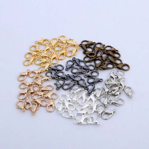 100pcs Lobster Clasp 7x12mm Plated Claw Hook Findings Jewelry Making Supplies