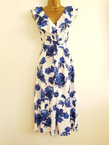 NEW Ex Quiz 8-16 Wide Leg Blue White Culotte Frill Floral Print Jumpsuit