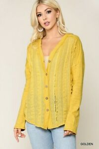 New-Gigio-By-Umgee-Cardigan-Top-M-Medium-Yellow-Lace-Button-Front-Boho-Peasant