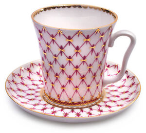Net-Blues-Pink-Mug-amp-Saucer-Lomonosov-Russian-Imperial-Porcelain-Teacup-12-fl-oz