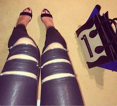 Stylish Women Slim Fit Pants Zipper Hollow Casual Skinny Leggings Long Trousers