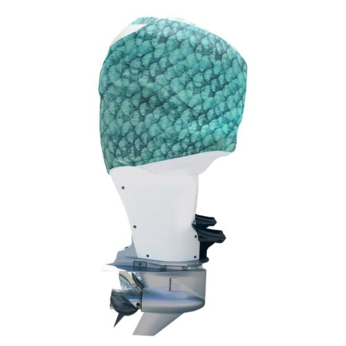Outer Envy Blue-green Fish Scales Outboard Motor Cover stays ON while you run