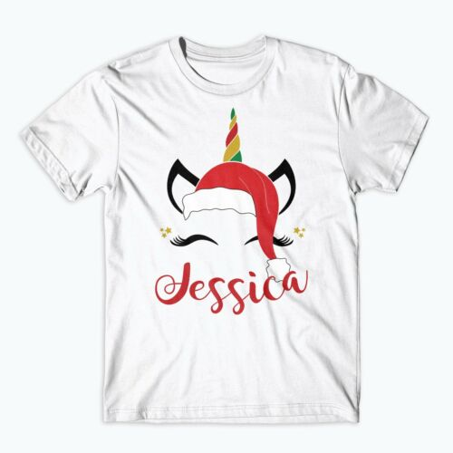 Personalised Unicorn Christmas Top Eyes Head Children/'s Kids T Shirts Xmas 508
