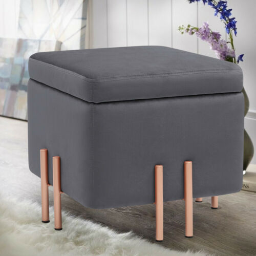 Silver Velvet Foldable Storage Box Cushioned Foot Stool Ottoman Pouffe Seat