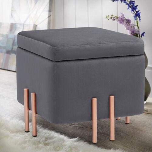 Silver Velvet Foldable Storage Box Cushioned Foot Stool Ottoman Pouffe Seat
