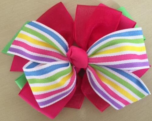 "Hair Bows Girls Baby Alligator Clip Elastic 5/"" Wide Ribbon Multi-Color Rainbow"
