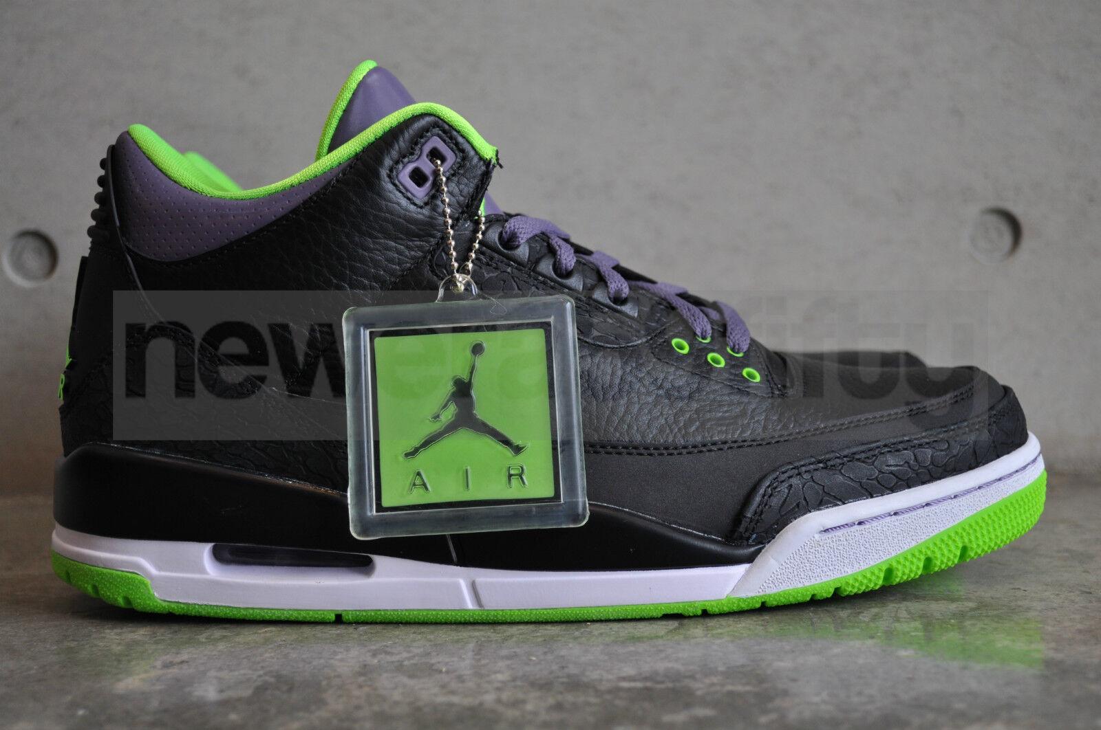 Nike Air Jordan 3 Retro  Joker  - Black Elctrc Grn-Cnyn Prpl-Wht