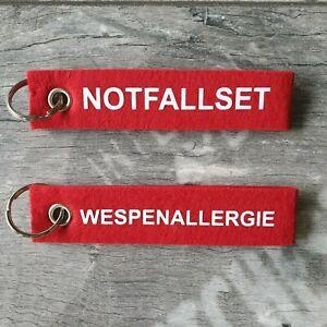 Schlüsselanhänger FILZ Anaphylaxie Notfallset Hinweis Wespenallergie Lanyard