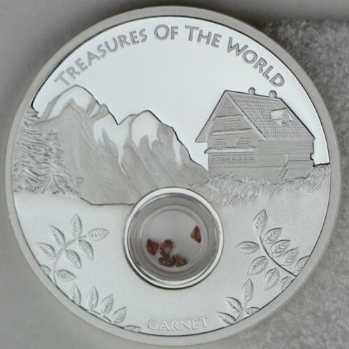 Europe 1oz Silver Proof Locket Coin Garnet Gems 2013 $1 Treasures of the World